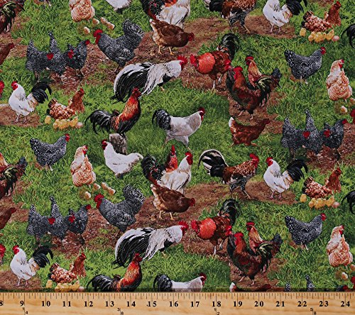 (Cotton Farm Animals Chickens Roosters Hens Chicks Eggs Barnyard Fowl Birds Grass Scenic Farmyard Farming Country Cotton Fabric Print by the Yard (354-green))