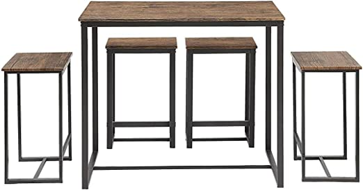 Abington Lane Kitchen Table Set - Versatile, Tall, Modern Table Set for  Kitchen, Dining Room, and Living Room (4 Stools)