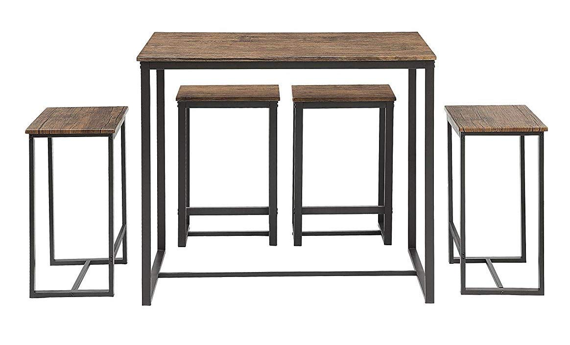 Abington Lane Kitchen Table Set - Versatile, Tall, Modern Table Set for Kitchen, Dining Room, and Living Room (4 Stools) by Abington Lane