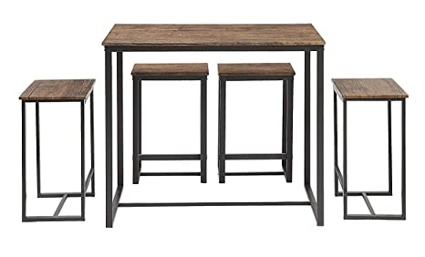 huge selection of 78ae4 e727d Abington Lane Kitchen Table Set - Versatile, Tall, Modern Table Set for  Kitchen, Dining Room, and Living Room (4 Stools)