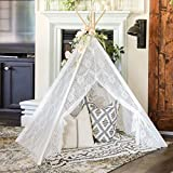 Tiny Land Kids Teepee Tent for Indoor Outdoor Children Play Tent , 5' Boho Lace Tipi