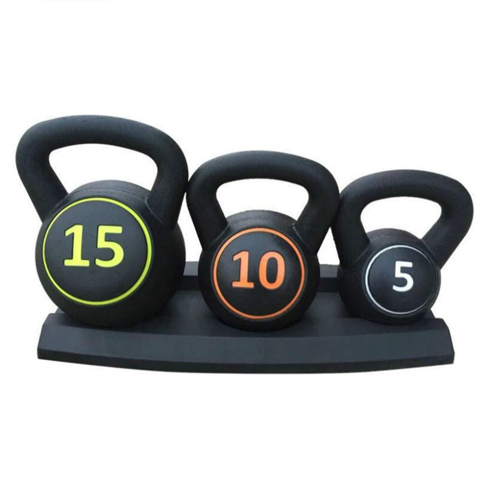 Coldshine 3 Pce Vinyl Kettlebell Weight Set & Stand Home Gym Fitness Equipment/Strength Training 5lbs,10lbs,15lbs (2.2kg, 4.5kg, 6.8 kg)