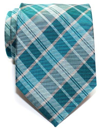 (Retreez Modern Tartan Plaid Check Styles Woven Microfiber Men's Tie - Turquoise)