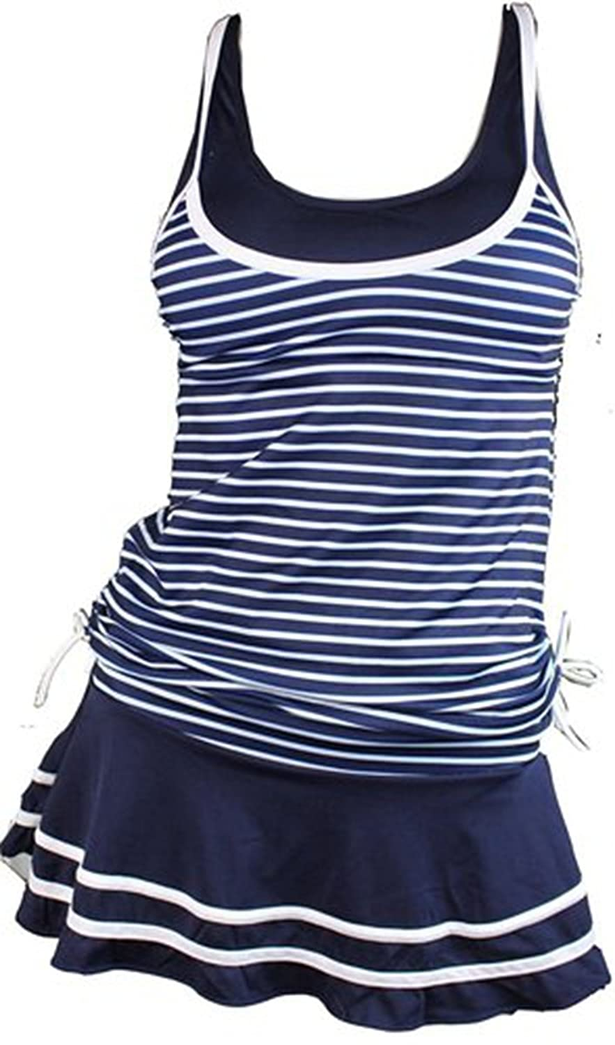 BLINGLAND Tankini Striped Vintage Swim Dress Bathing Suits Swimwear for Women