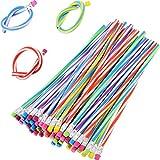 #8: TecUnite 60 Pieces Flexible Bendy Soft Pencils Colorful Stripe Pencil with Eraser
