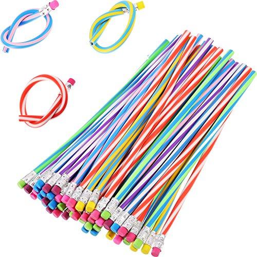 (TecUnite 60 Pieces Flexible Bendy Soft Pencils Colorful Stripe Pencil with)