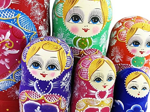 Winterworm Colorful Little Girl Heart Pattern Wooden Handmade Russian Nesting Dolls Matryoshka Dolls Set 15 Pieces for Kids Toy Birthday Home Decoration Collection by Winterworm (Image #6)