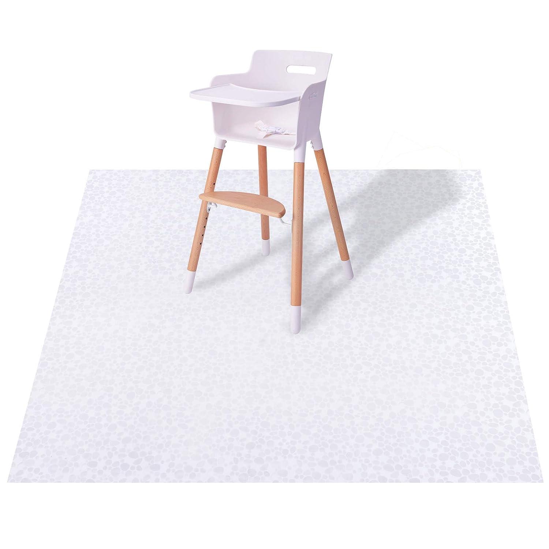 Plastic Splat Mat for Baby, Easy Cleaning Vinyl Floor Mat for Eating Messes, Waterproof High Chair Floor Protector Feeding Floor Cover by MatLeya