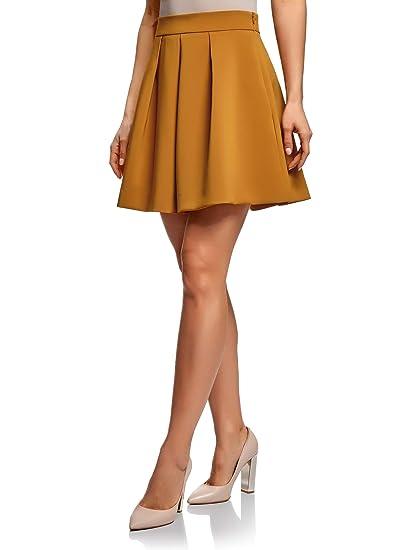 oodji Ultra Mujer Falda Acampanada con Pliegues: Amazon.es: Ropa y ...
