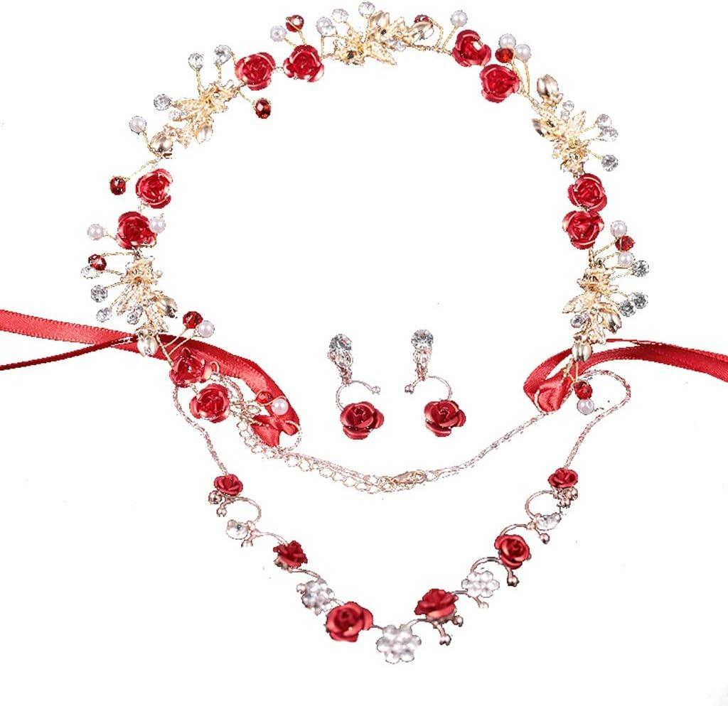 Wreath Flower Bride Headdress Three-Piece Headgear Earrings Set Red Head Flower Wedding Dress Hair Accessories Size : 35cm