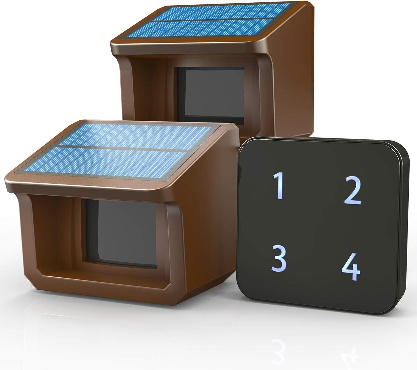 1/2Mile Solar Driveway Alarm System-Up to 70FT Wide Sensor Range 3 Adjustable Sensitivities-Fully Weatherproof Outdoor Motion Sensor&Detector DIY Security Alert System-1 Receiver and 2 Sensors KIT