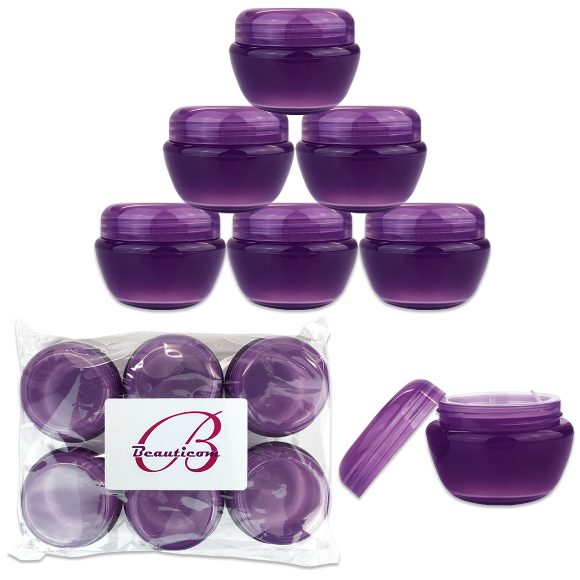 Beauticom 36 Pieces 30G 30ML 1 Oz PURPLE Frosted Container Jars with Inner Liners for Scrubs, Oils, Salves, Creams, Lotions, Medication, Cosmetics – BPA Free