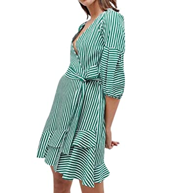 Goodtrade8 Striped Dresses-Summer Swing Dress Women Half Sleeve Casual  Loose Shirt Dress (Small bdc7441af7
