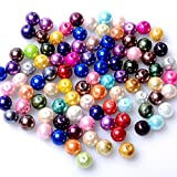 RUBYCA 200Pcs Mix Czech Tiny Satin Luster Glass Pearl Round Bead 6mm Assortment Beading DIY Jewelry