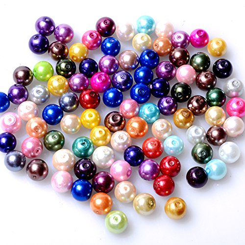 RUBYCA 200Pcs Mix Czech Tiny Satin Luster Glass Pearl Round Bead 6mm Assortment Beading DIY Jewelry (Round Imitation Pearls)
