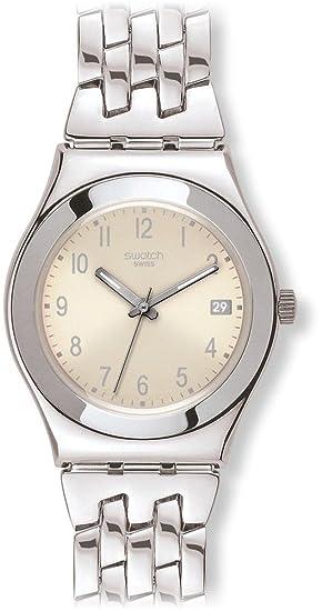 Swatch YLS441G - Reloj analógico de mujer de cuarzo con correa de acero inoxidable plateada