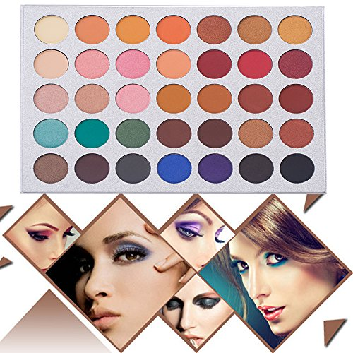 35 Colors Eyeshadow Palette and Makeup Brushes Set, Matte Shimmer Eye Shadow Pallete Waterproof Powder Natural Pigmented…
