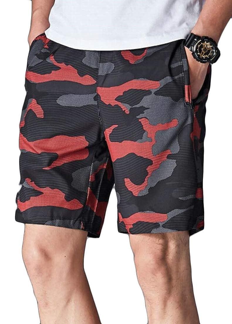 Alion Mens Quick Dry Sport Boardshort Drawstring Camouflage Beach Shorts