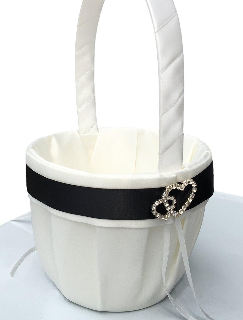 Vivivalue Flower Girl Basket Wedding Collection Traditional White