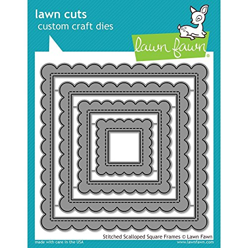 (Lawn Fawn Lawn Cuts Custom Craft Die - LF1720 Stitched Scalloped Square Frames)