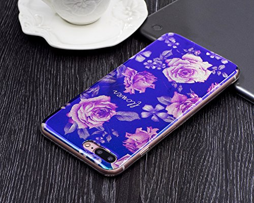 Cover iphone 8 plus 5.5, Custodia iphone 7 plus Morbido, iphone 8 plus Blu-Ray Cover, Ekakashop Colorata Painting Fiori Pattern Blu Riflettente Sparkle Glitter Brillante 3d Gel Silicone Gomma Morbido  Rosa peonia
