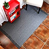 HiiARug Grey Woven Cotton Rug with Tassels, Cotton Throw Mat Carpet Washable Area Rug for Living Room Bedroom 4' × 6'