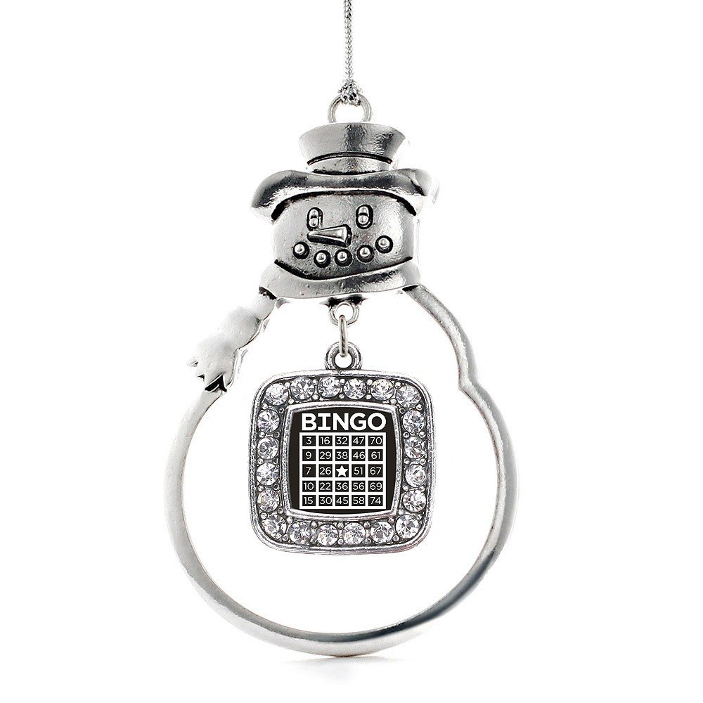 Inspired Silver Bingo Classic Snowman Holiday Christmas Tree Ornament With Crystal Rhinestones