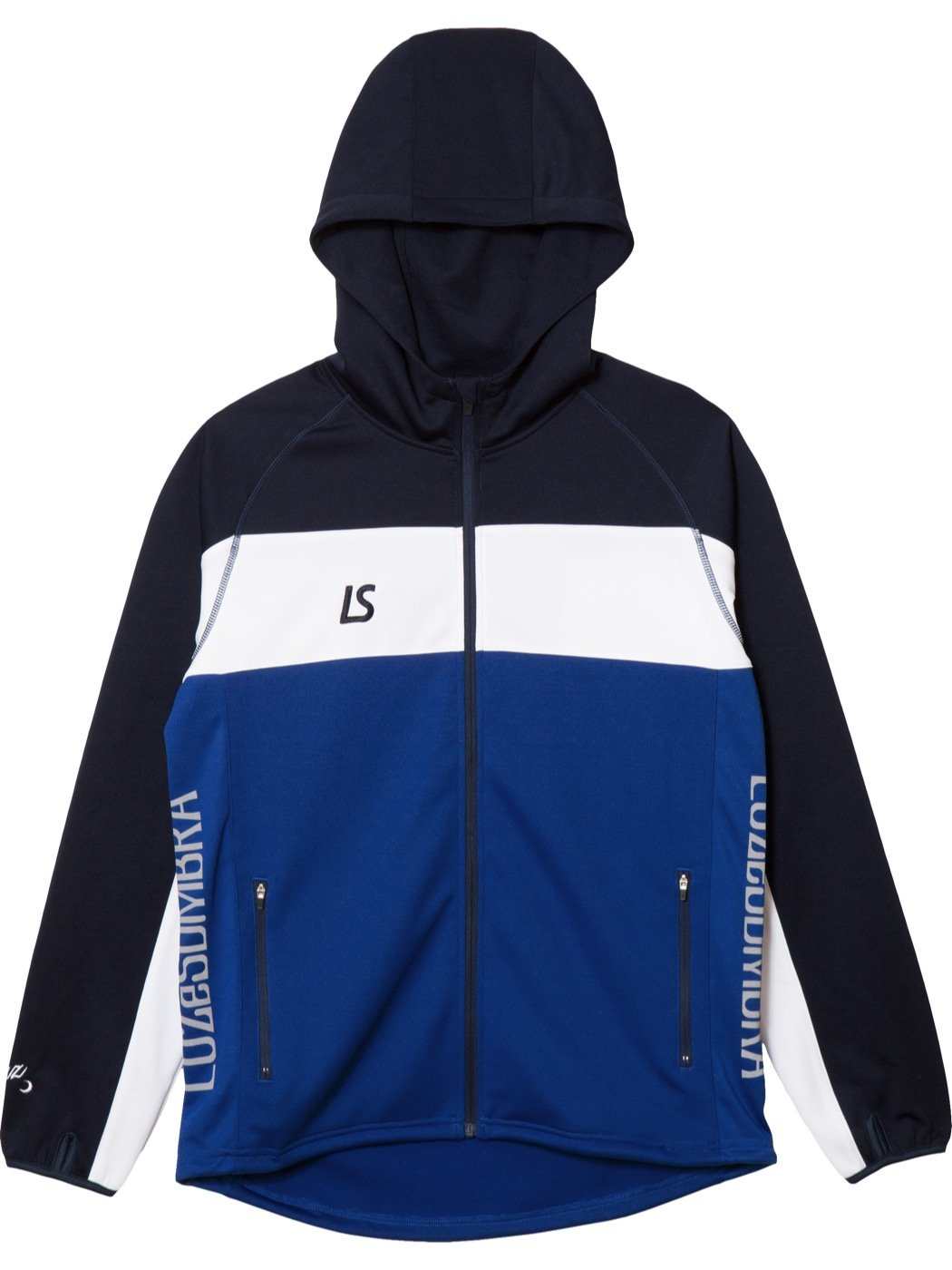 LUZeSOMBRA(ルースイソンブラ) STREAM LINE TRAINING ジャージトップボトムセット F1811600 B07C691QDD Large ブルー/ネイビー ブルー/ネイビー Large