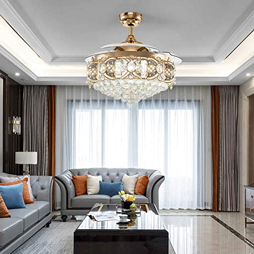 Healer 42 Inch Crystal Ceiling Fan with Lights and Remote control 3 Speed, Modern Luxury Retractable Blade Chandelier Lighting with 3 Lights Level Silent Fans Fit for Living Dining Room Bedroom