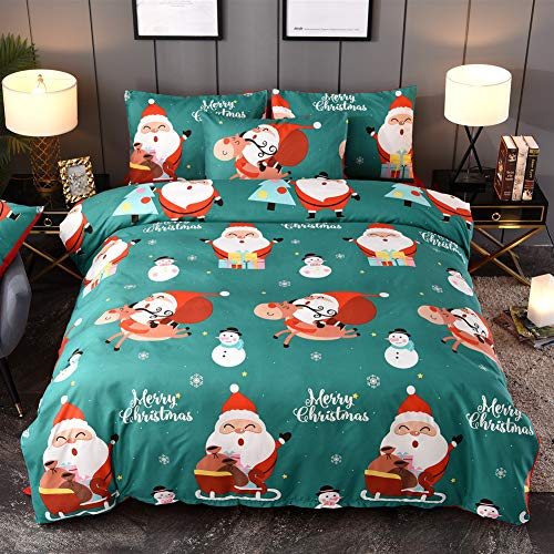 Argstar 3 Pcs 3D Christmas Duvet Cover Set Queen Clearance, Satus Claus and Snowman Bedding Set, Green Comforter Cover for New Year Decorations, 1 Duvet Cover and 2 Pillow Shams (And Double Duvet Pillow Set)