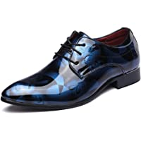 Business Shoes Mens Dress, Pointed Toe Patent Leather Lace Up Derby Oxford Wedding Fashionable Office Floral Vintage Casual Flat Brown 4-13UK
