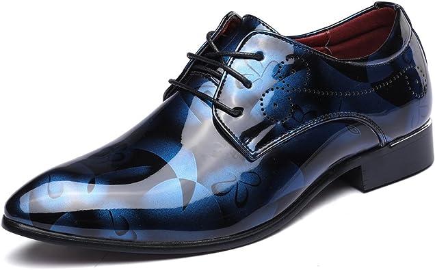 JOYTO Chaussure Homme Cuir, Lacets Derby Mariage Cuir Vernis Dressing Oxford Business Marron Rouge Bleu Gris 37 50