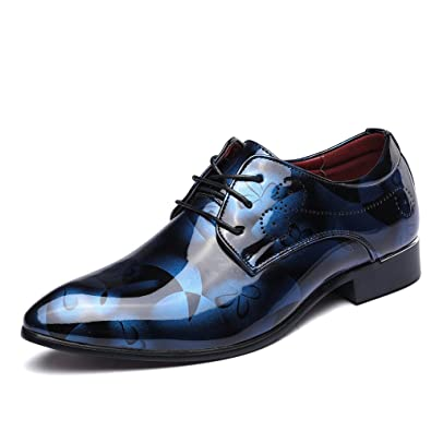 JOYTO Herren Schnürhalbschuhe Anzugschuhe Lederschuhe Oxford Derby Klassisch Lackleder Casual Modische Business Braun 44