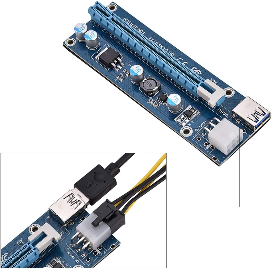 Mini PCI-E to PCI Express16x Extender Riser Adapter with SATA Power Cord for Video Card Mining Hongzer PCI-E 16x Adapter
