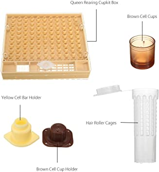 Queen Rearing Cupkit Box /& 110x Hair Roller Cage /& 110x Cell Cups Beekeeping Set