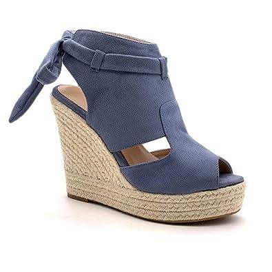3d5db8dded3dcc Angkorly - Chaussure Mode Sandale Espadrille Ouvert Plateforme Femme avec  de la Paille Lacets Noeud Talon