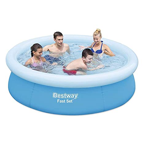 Bestway 57252E 6ft x 20in Round Inflatable Above Ground Kids Swimming Pool,  Blue
