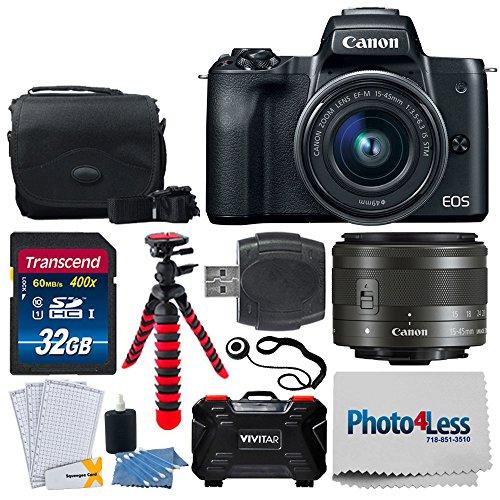 Canon EOS M50 Mirrorless Digital Camera + EF-M 15-45mm f/3.5