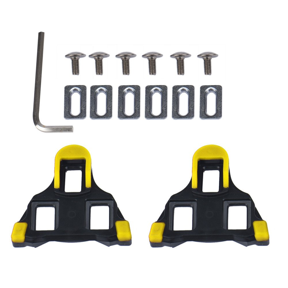 2 Pcs Road Bike Cleats 6 Degree Float Self-Locking Cycling Pedals Cleat for Road Cycling Shoes Cleat Covers Set (Yellow)