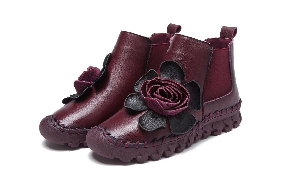 NVXIE Damen Neue Flats Schuhe Kurz Stiefel Freizeit Low Heel Rundkopf Echtes Leder Plus Kaschmir Warm Anti-Rutsch Pumps Herbst Winter Party Work