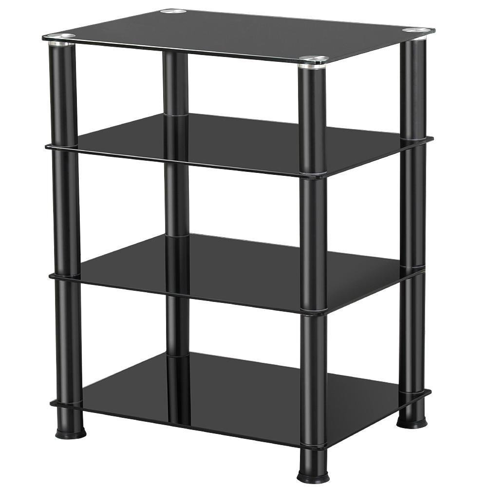 Topeakmart 4 Tier Media Stand for Audio Video AV Components, Tempered Glass Stand Black by Topeakmart
