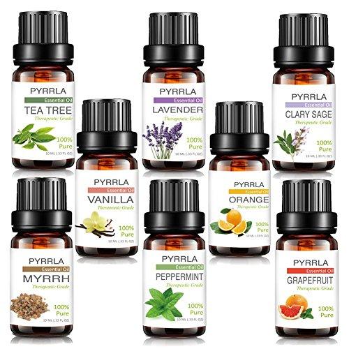 Essential Oils,8 Top Aromatherapy essential oil Box Basic sampler by PYRRLA (Tea Tree/Peppermint/Lavender/Orange/Vanilla/Grapefruit/Clary Sage/Myrrh)