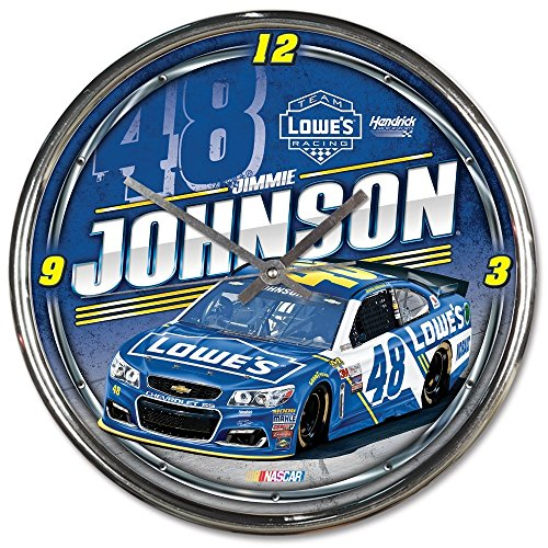 NASCAR Jimmie Johnson Chrome Clock