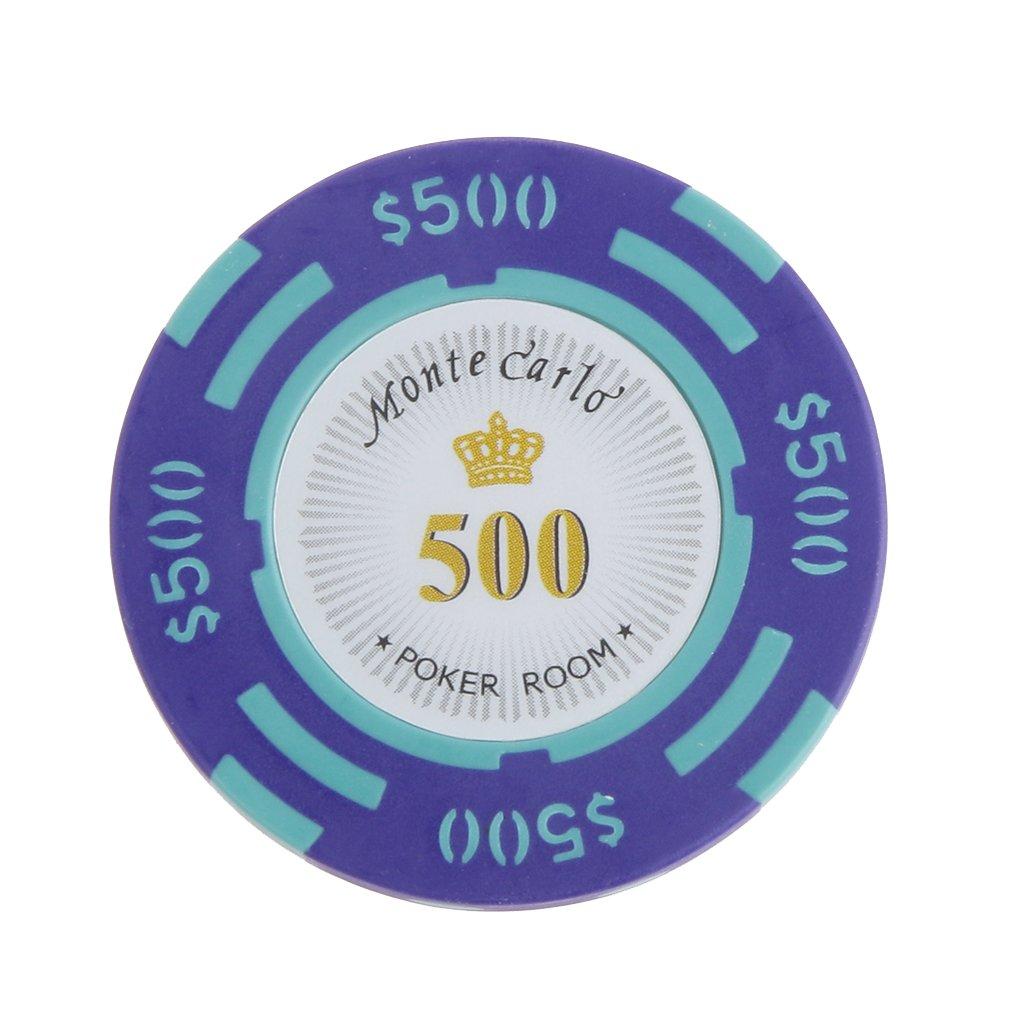 10pcs Jetons de Poker Monte Carlo Etiquette Casino Chips en Argile avec Valeur $1-10000 - 500, L Generic