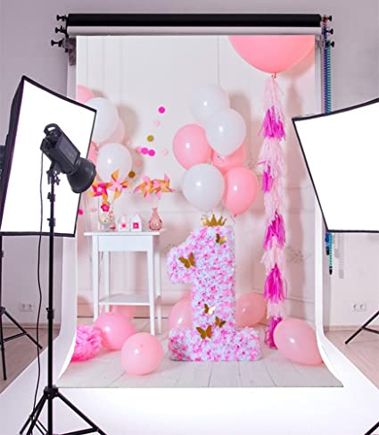 Laeacco Vinyl 5x7ft Photography Background Sweet Pink And White Balloons First Birthday Decorations One Year Old