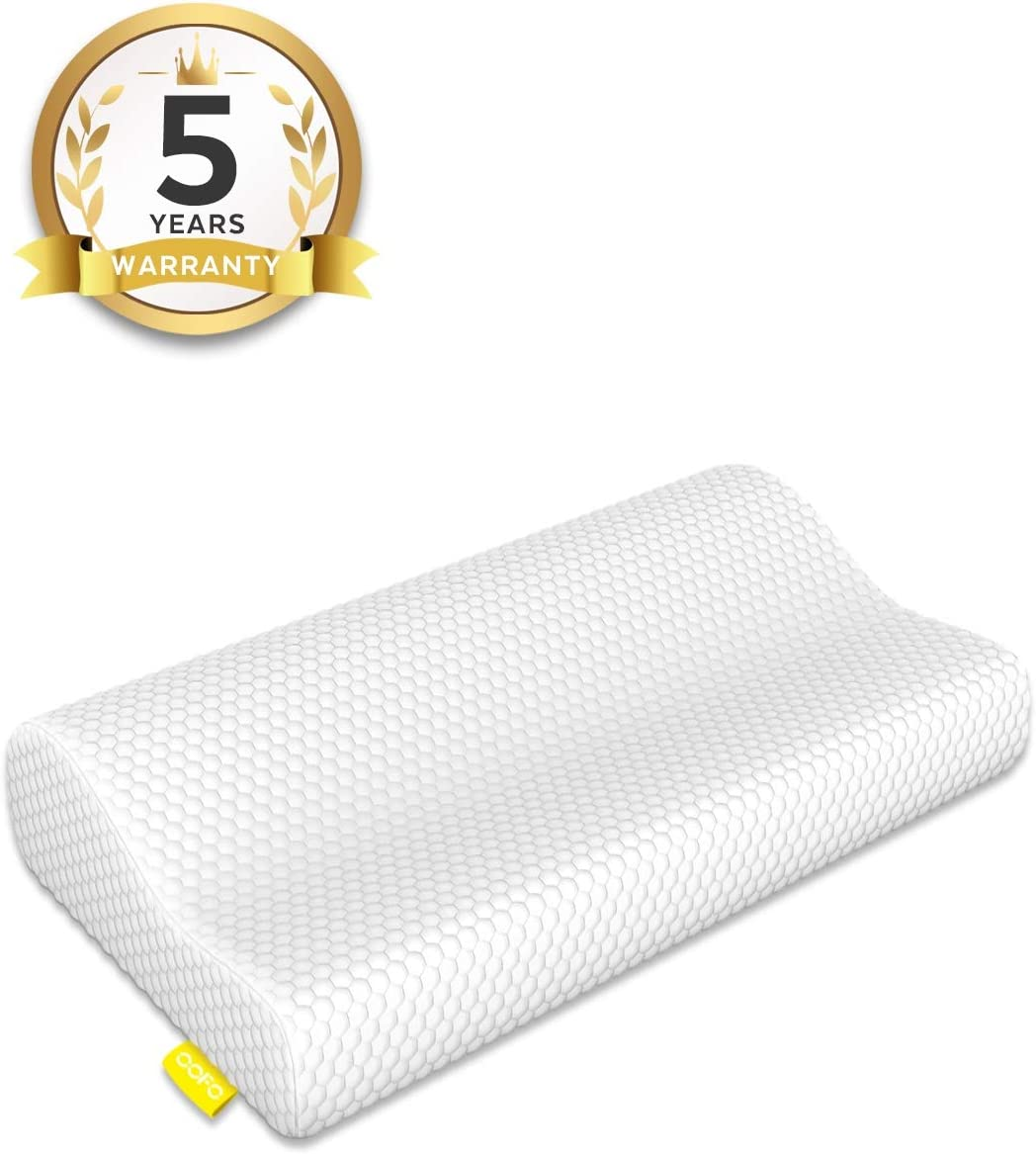 OOFO Memory Foam Pillow Adjustable Cervical Bed Pillow Cover for Neck and Shoulder Pain Contour Pillow Neck Support for Back, Stomach, Side Sleepers