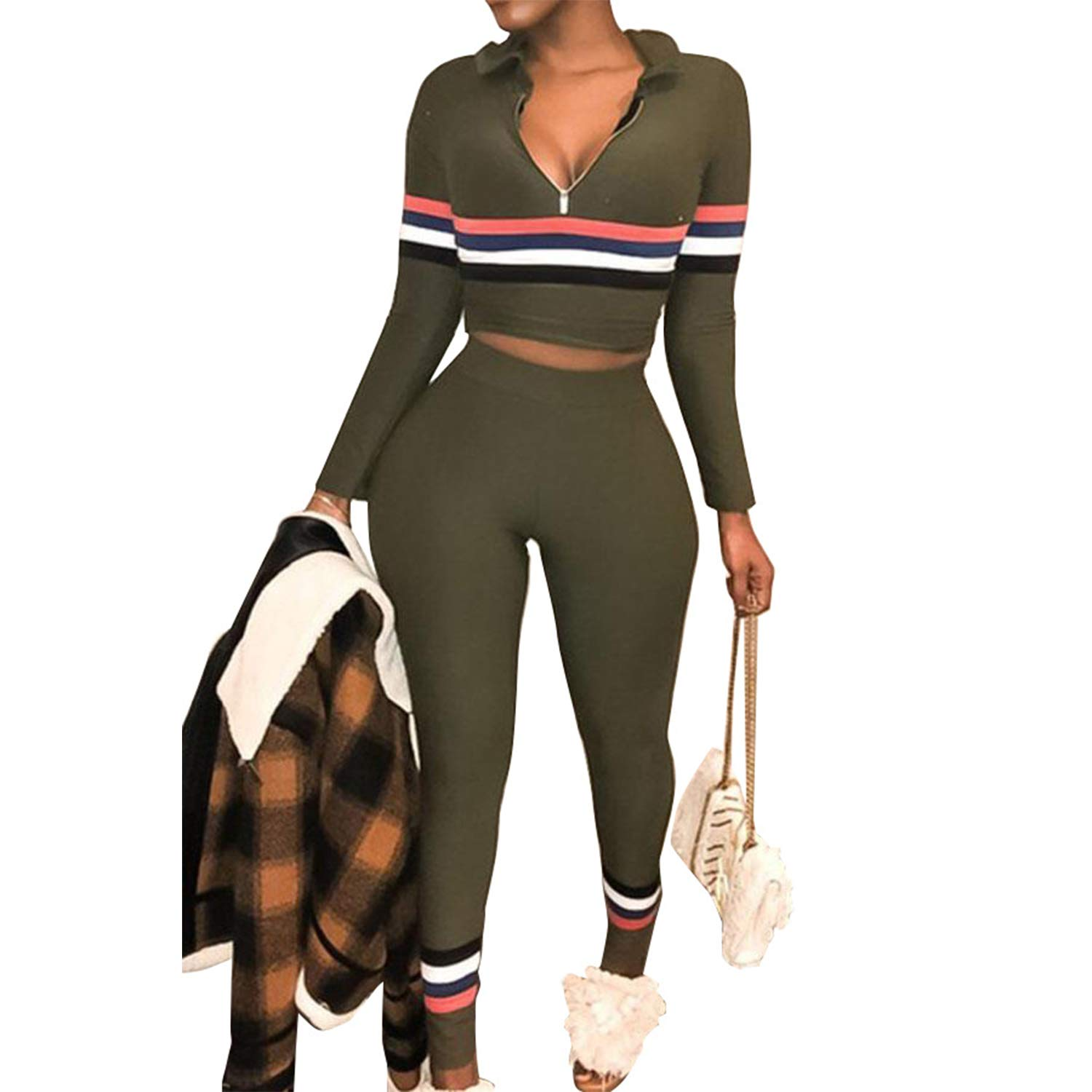 1008e9536f2b Sexy 2 Piece Outfits for Women Tracksuits Stripe Sweatsuit Long Pants Set  Jumpsuit at Amazon Women s Clothing store