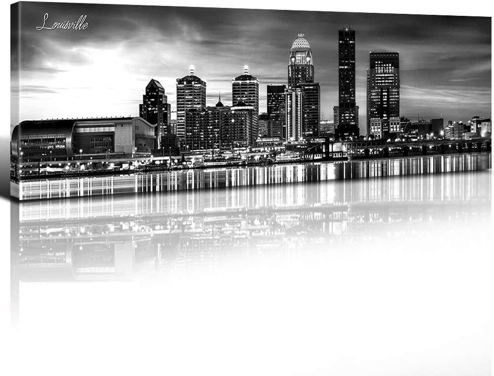 "Black and White Skyline Wall Art Louisville Canvas Prints Decor Kentucky Night View Cityscape Pictures Painting Artwork Framed Urban Landscape Panoramic Posters Modern Home Decoration 14"" x 48"" x 1"