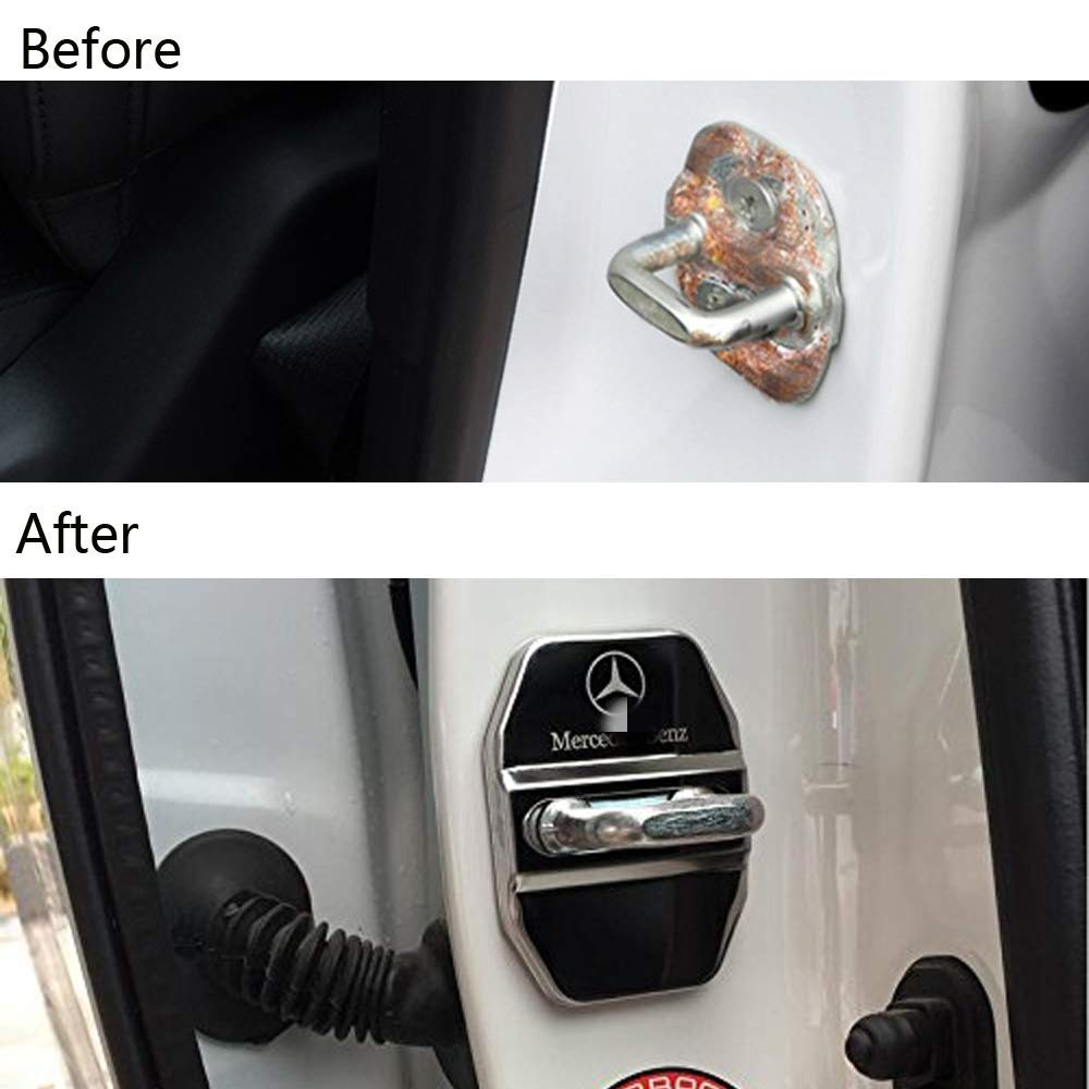 4Packs//Set Wonderfulhz Stainless Steel Car Door Lock Latches Cover Protector Compatible with 2019 2020 Mercedes Benz C E S GLA GLC GLE CLS AMG Black