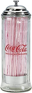 Tablecraft 11-in. Diner Collection Old Fashioned Straw Dispenser W/Straws - Chrome Top - Coca-Cola - 11H x 4.25W inches